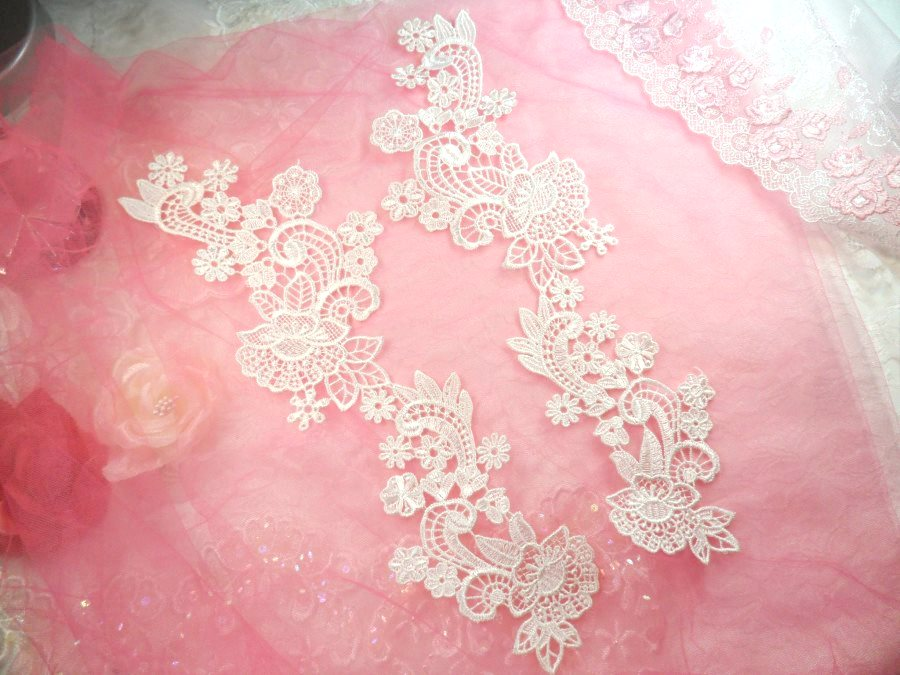Embroidered Lace Appliques White Floral Venice Lace Mirror Pair 14 (DH81X)