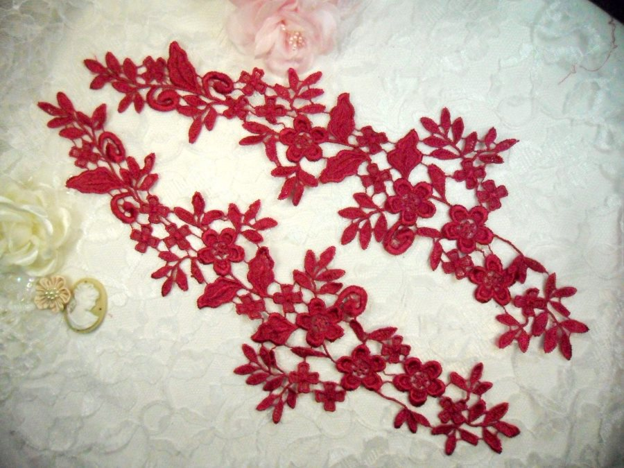 Embroidered Lace Appliques Wine Floral Venice Lace Mirror Pair 15 (DH80X)