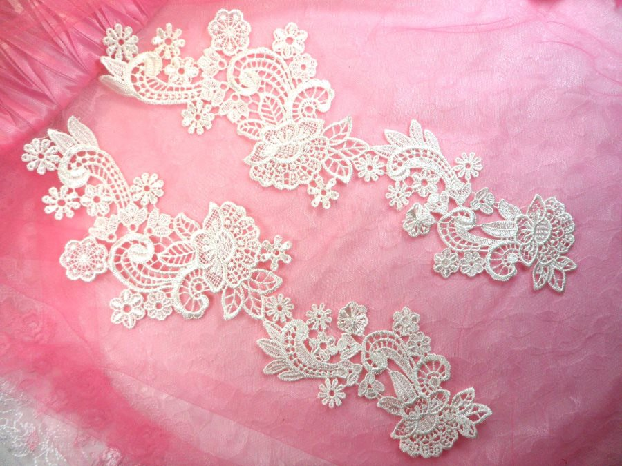 Venice Lace Appliques Ivory Floral Embroidered Mirror Pair Flower Sewing Crafts Motifs 13.5 (DH81X)