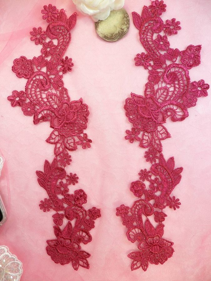 Embroidered Lace Appliques Wine Floral Venice Lace Mirror Pair 14 (DH81X)