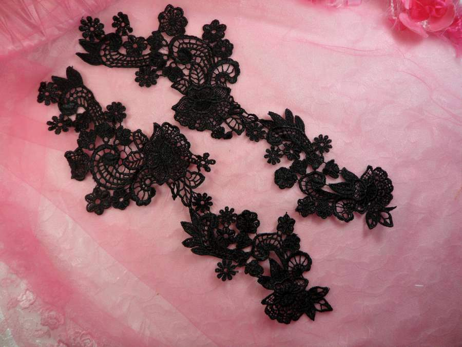 Embroidered Lace Appliques Black Floral Venice Lace Mirror Pair 14 (DH81X)