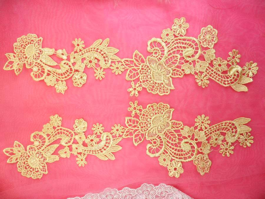 Embroidered lace appliques gold floral venice lace mirror pair