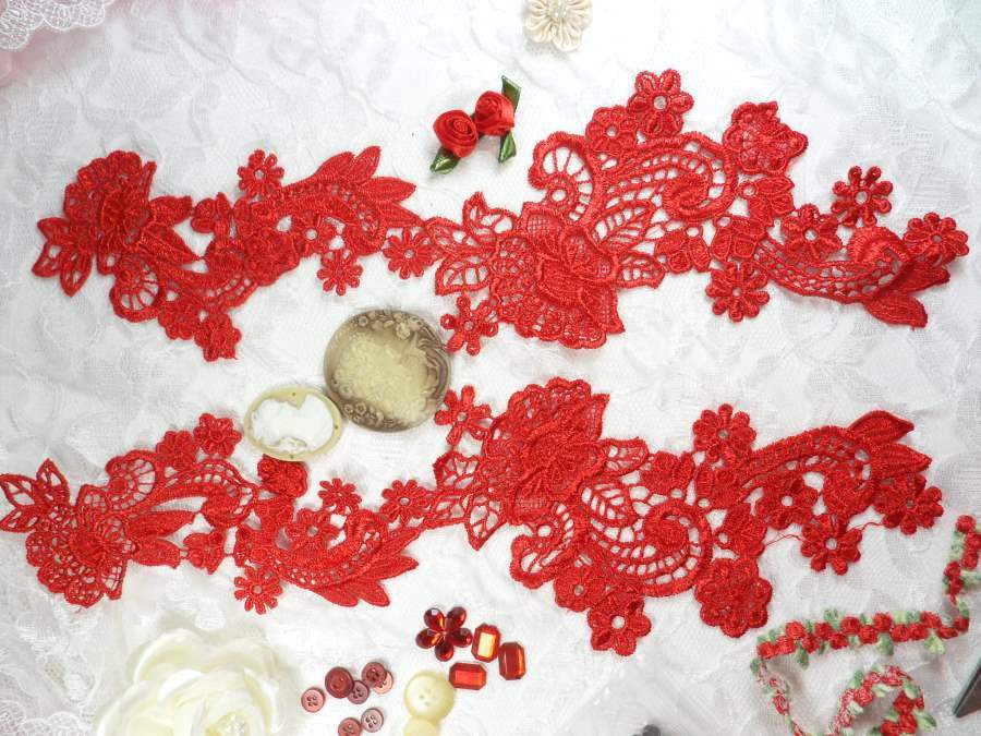Embroidered Lace Appliques Red Floral Venice Lace Mirror Pair 14 (DH81X)