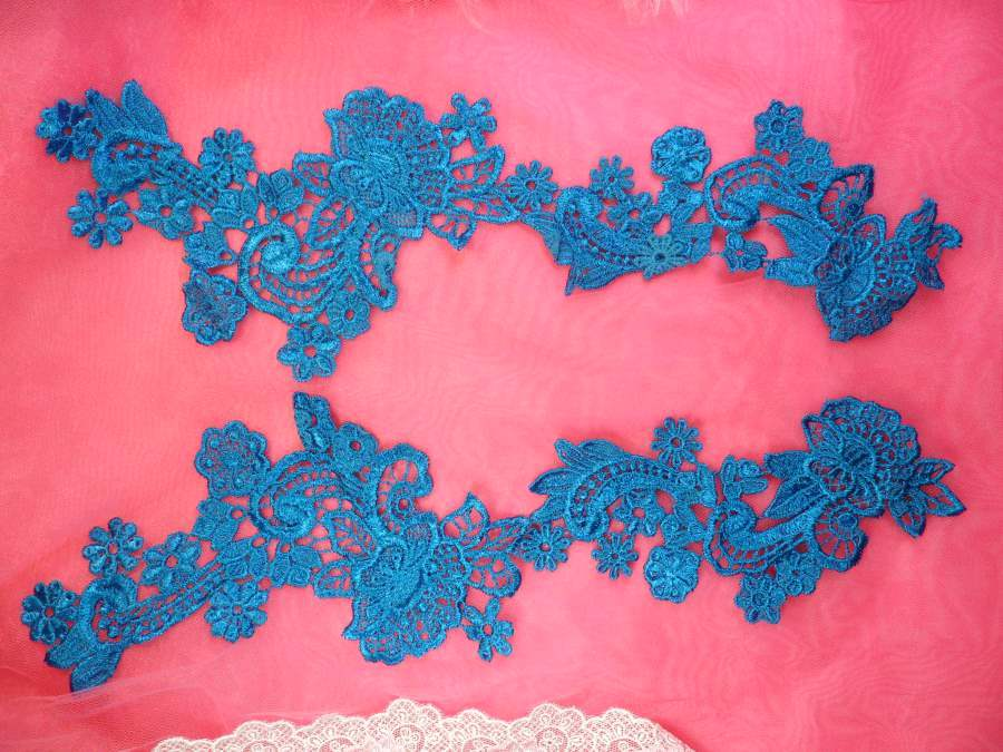Embroidered Lace Appliques Turquoise Floral Venice Lace Mirror Pair 14 (DH81X)