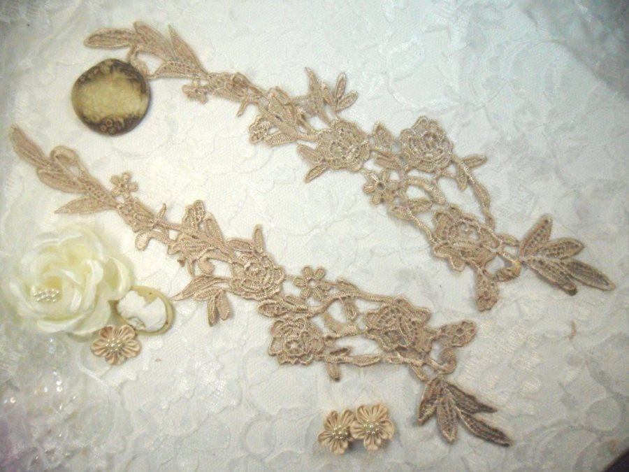 Embroidered Lace Appliques Champagne Floral Venice Lace Mirror Pair 14 (DH82X)
