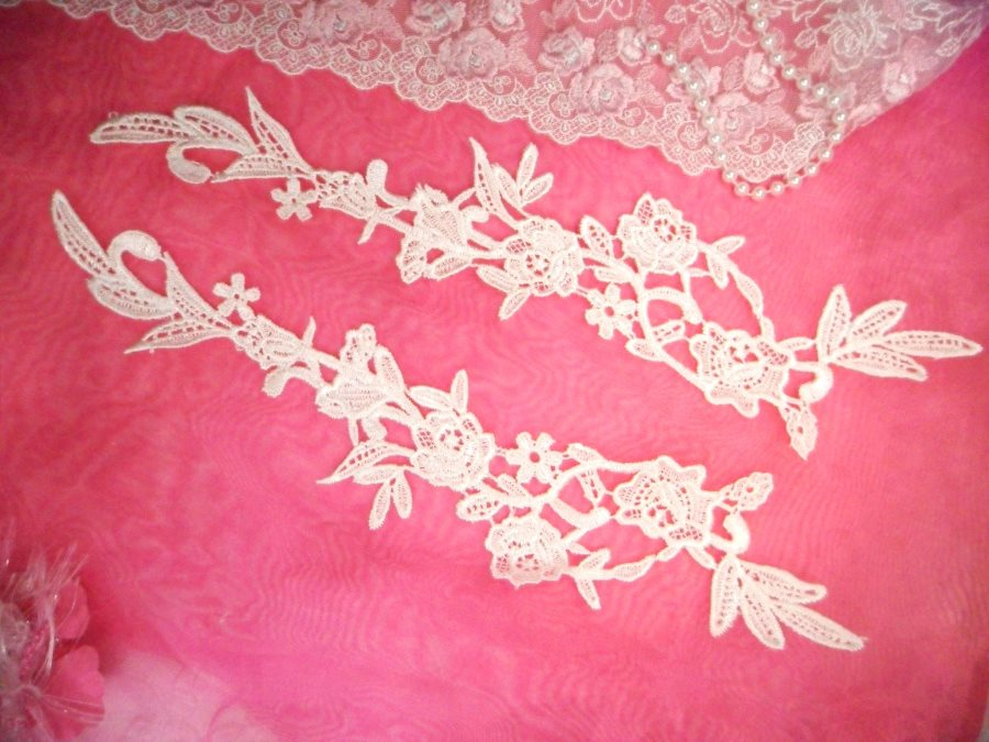 Embroidered Lace Appliques Ivory Floral Venice Lace Mirror Pair 14 (DH82X)