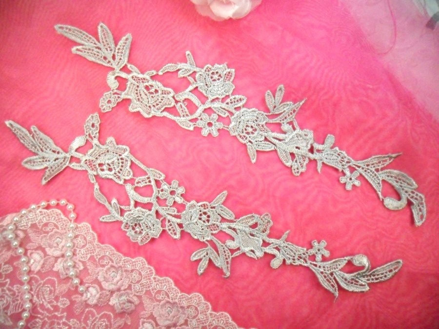 Embroidered Lace Appliques Silver Floral Venice Lace Mirror Pair 14 (DH82X)