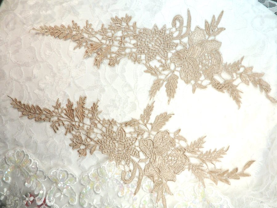 Embroidered Lace Appliques Champagne Romantic Rose Floral Venice Lace Mirror Pair 16 (DH83X)