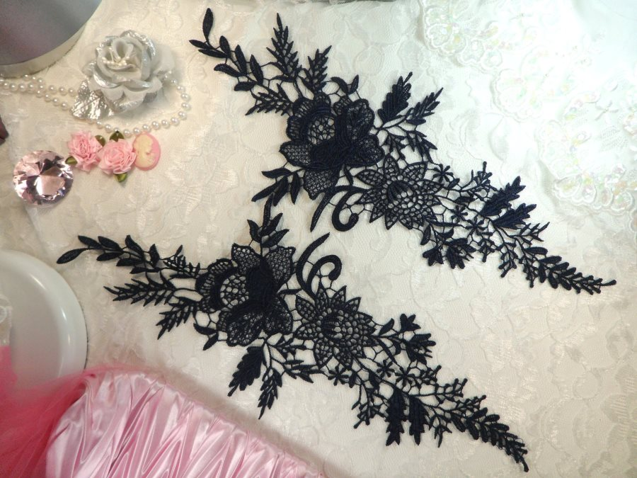 Embroidered Lace Appliques Navy Romantic Rose Floral Venice Lace Mirror Pair 16 (DH83X)