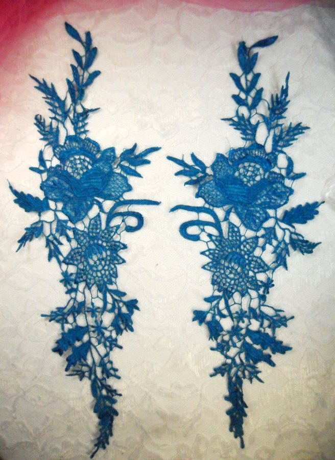Embroidered Lace Appliques Turquoise Romantic Rose Floral Venice Lace Mirror Pair 16 (DH83X)