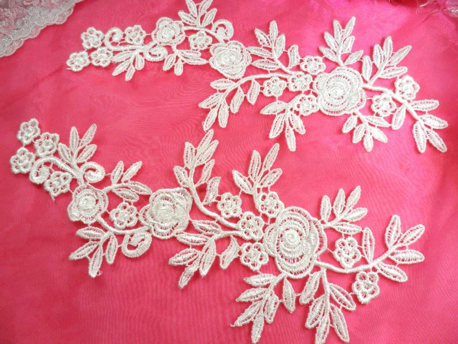 Romantic Roses Embroidered Lace Appliques White Floral Venice Lace Mirror Pair 13 (DH84X)