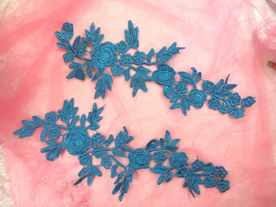 Romantic Roses Embroidered Lace Appliques Turquoise Floral Venice Lace Mirror Pair 13 (DH84X)