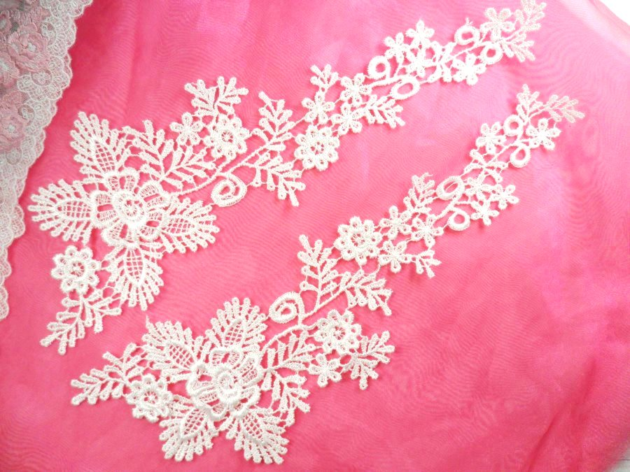 Embroidered Lace Appliques White Floral Venice Lace Mirror Pair 15 (DH85X)