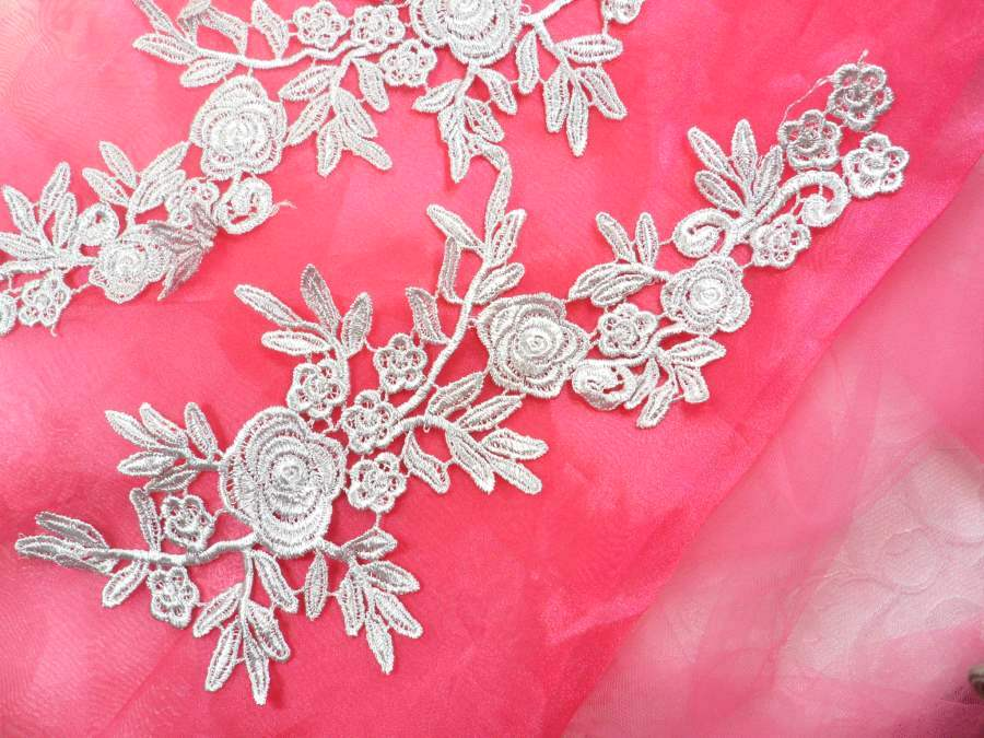Romantic Roses Embroidered Lace Appliques Silver Floral Venice Lace Mirror Pair 13 (DH84X)