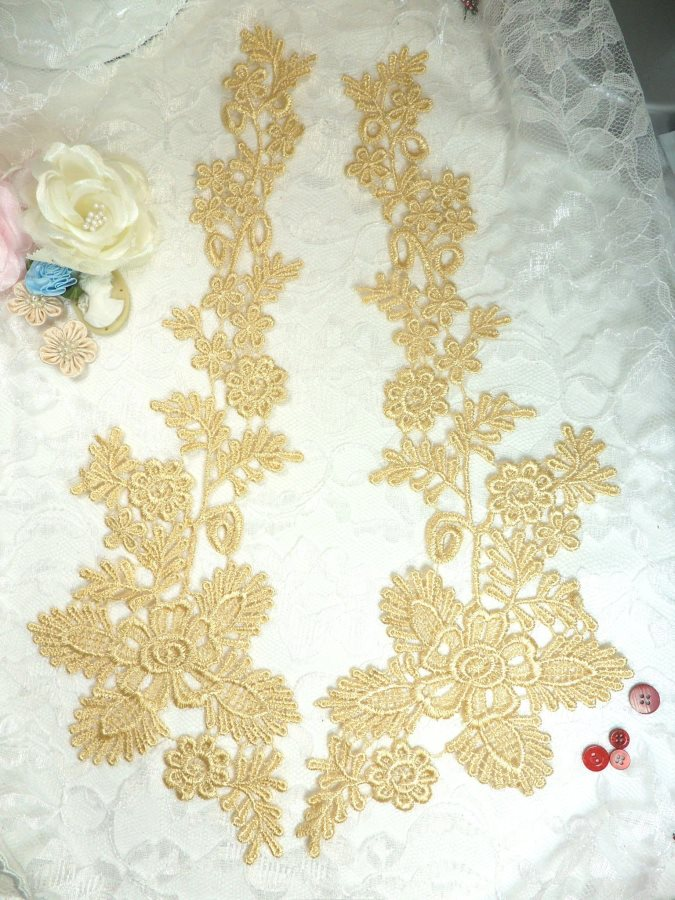 Lace Appliques Gold Floral Vine Embroidered Mirror Pair Costume Motifs 15 (DH85X)