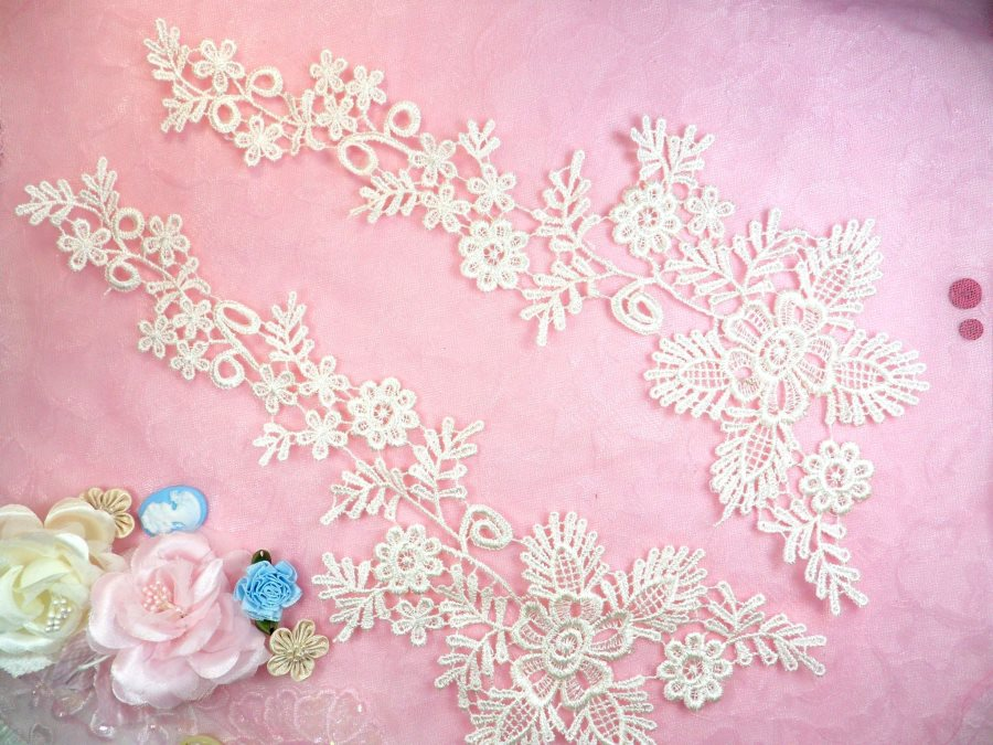 Lace Appliques Ivory Floral Vine Embroidered Mirror Pair Costume Motifs 15 (DH85X)