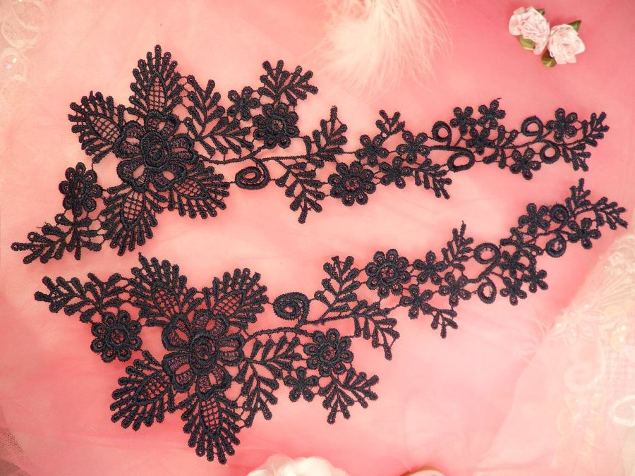 Lace Appliques Navy Blue Floral Vine Embroidered Mirror Pair Costume Motifs 15 (DH85X)