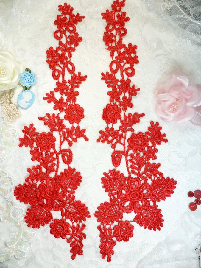Lace Appliques Red Floral Vine Embroidered Mirror Pair Costume Motifs 15 (DH85X)