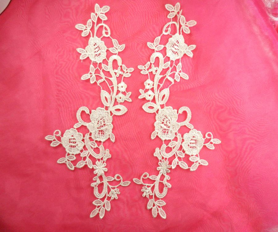 Embroidered Lace Appliques White Anitque Floral Venice Lace Mirror Pair Motifs 11 (DH100X)