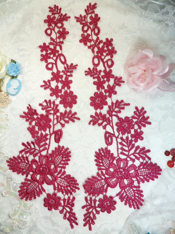 Lace Appliques Wine Floral Vine Embroidered Mirror Pair Costume Motifs 15 (DH85X)
