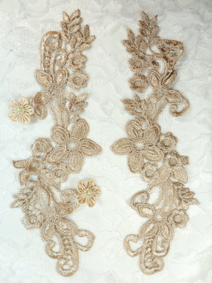Embroidered Lace Appliques Champagne Floral Venice Lace Mirror Pair 9.5 (DH86X)