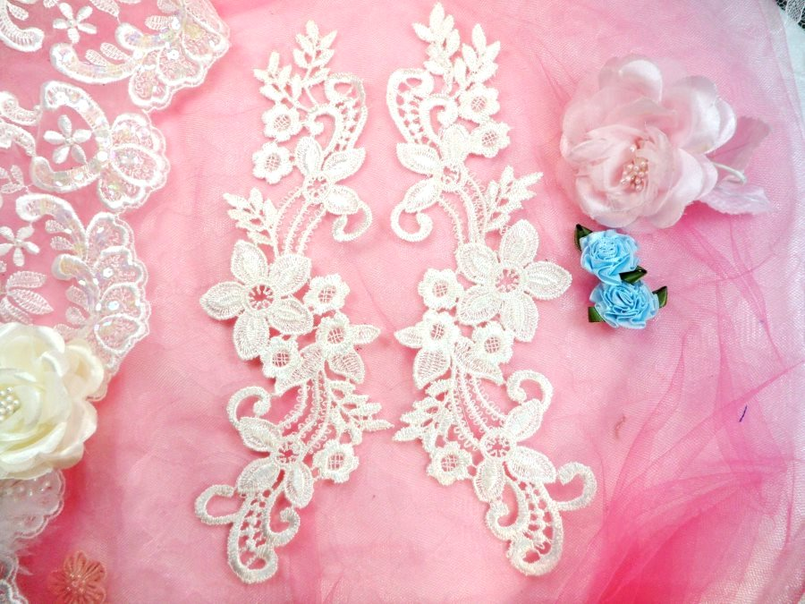 Embroidered Lace Appliques White Floral Venice Lace Mirror Pair 9.5 (DH86X)