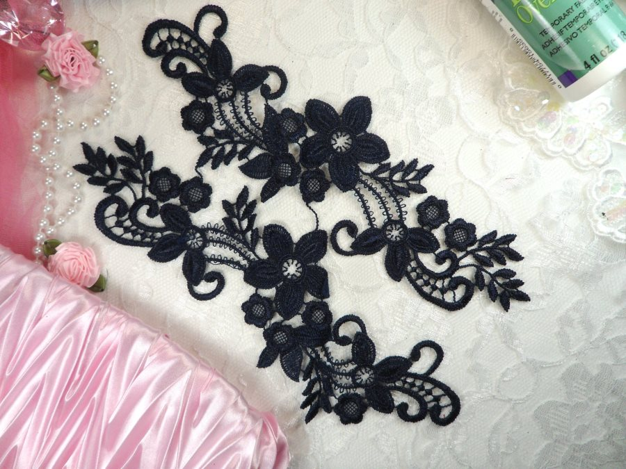 Embroidered Lace Appliques Navy Floral Venice Lace Mirror Pair 9.5 (DH86X)