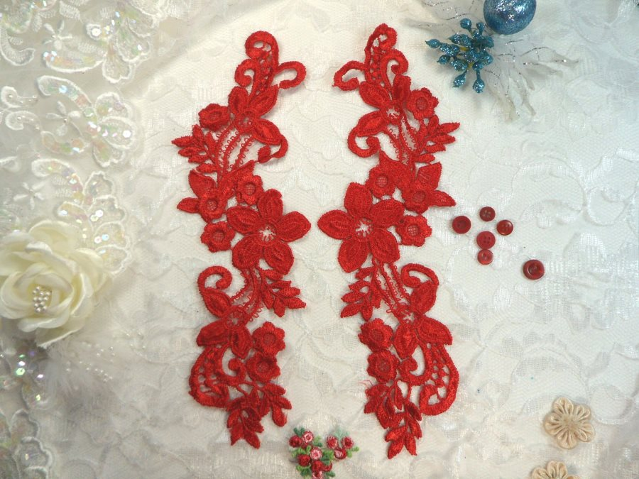 Embroidered Lace Appliques Red Floral Venice Lace Mirror Pair 9.5 (DH86X)