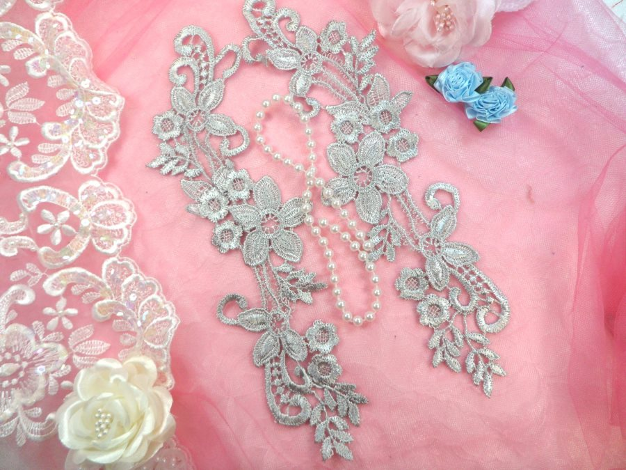 Embroidered Lace Appliques Silver Floral Venice Lace Mirror Pair 9.5 (DH86X)