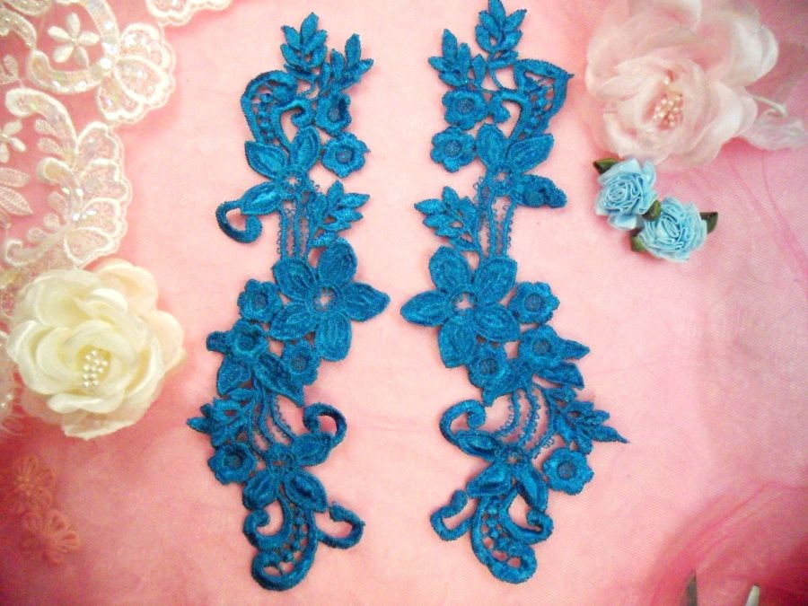 Embroidered Lace Appliques Turquoise Floral Venice Lace Mirror Pair 9.5 (DH86X)