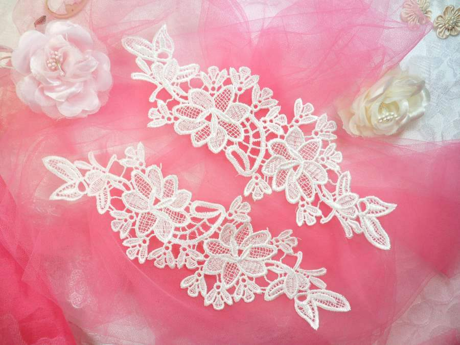 Embroidered Lace Appliques Ivory Floral Venice Lace Mirror Pair 10 (DH87X)