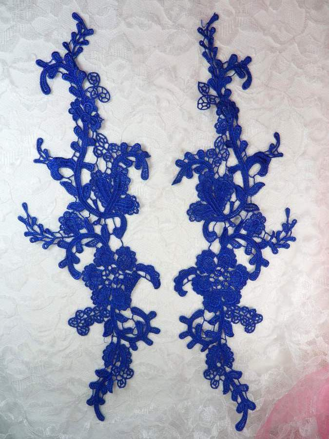 Embroidered Lace Appliques Blue Floral Venice Lace Mirror Pair 13 (DH88X)