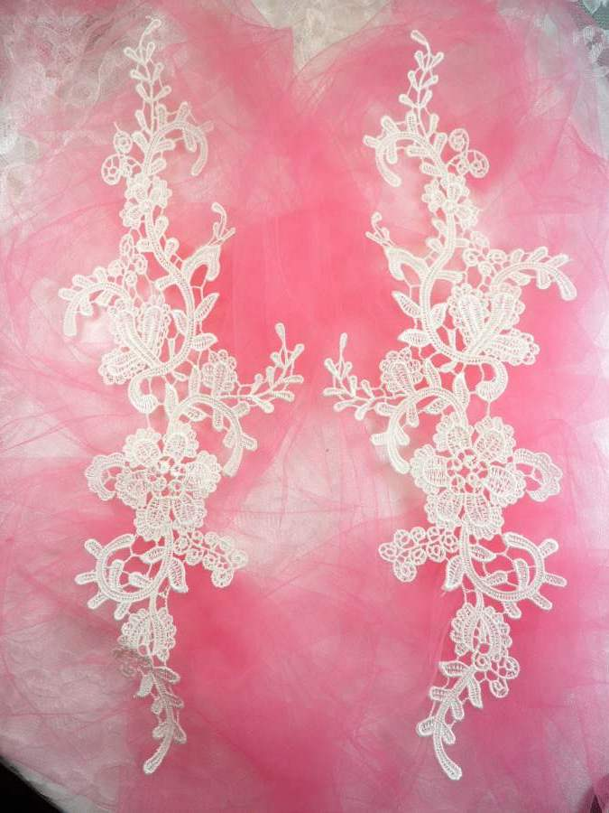 Embroidered Lace Appliques Ivory Floral Venice Lace Mirror Pair 13 (DH88X)