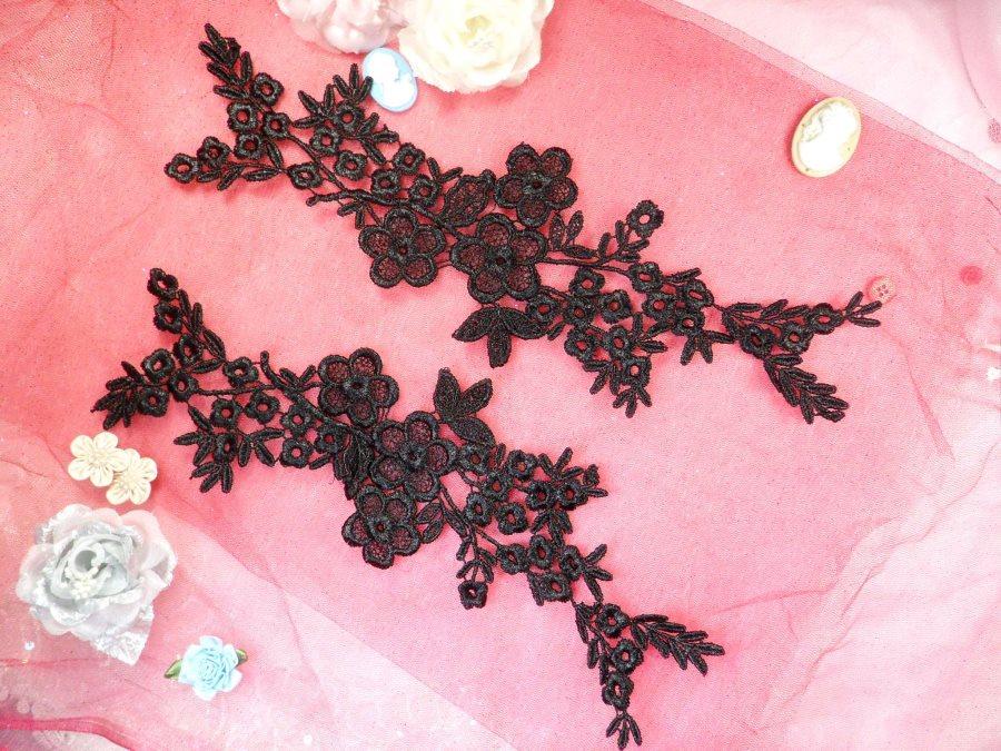 Lace Appliques Black Floral Vine Embroidered Mirror Pair Costume Motifs 14 (DH89X)