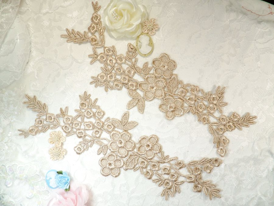 Lace Appliques Champagne Floral Vine Embroidered Mirror Pair Costume Motifs 14 (DH89X)