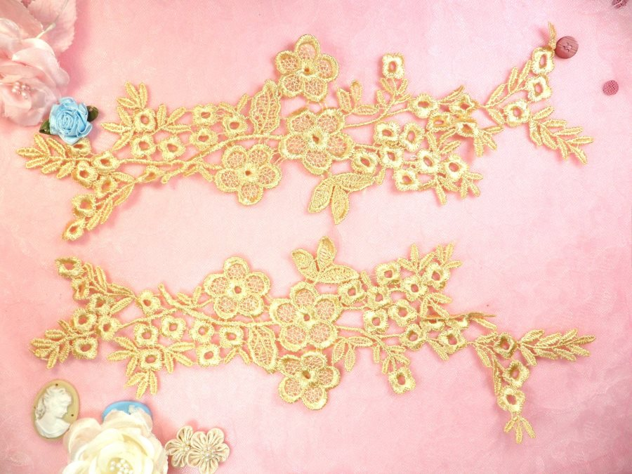 Lace Appliques Gold Floral Vine Embroidered Mirror Pair Costume Motifs 14 (DH89X)