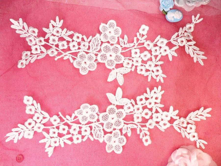 Lace Appliques Ivory Floral Vine Embroidered Mirror Pair Costume Motifs 14 (DH89X)