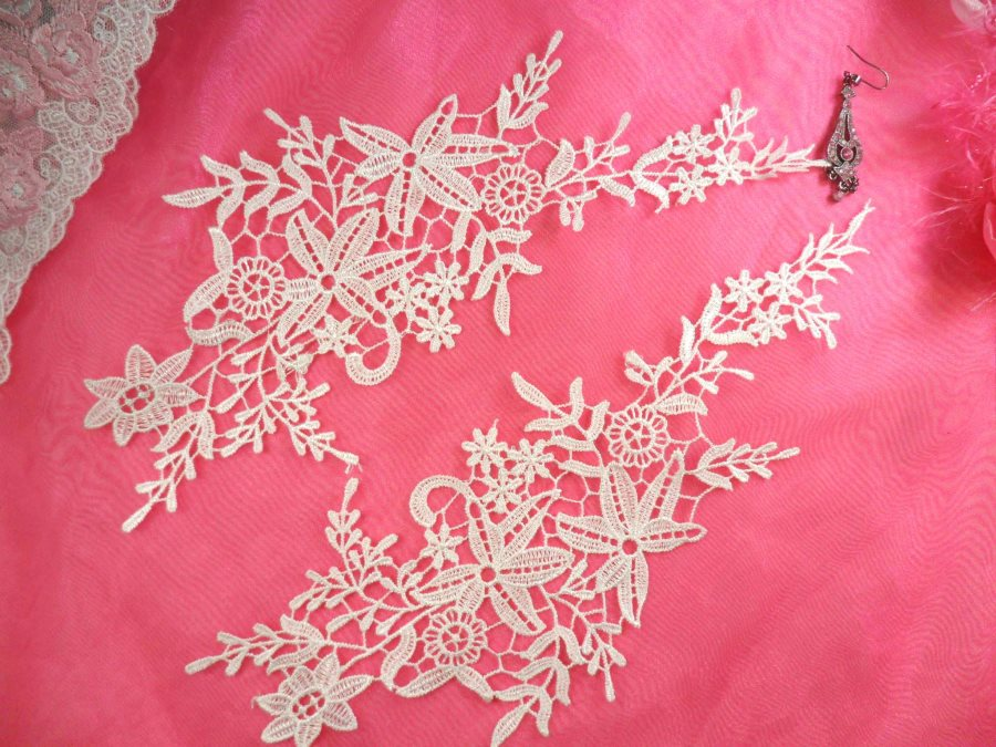 Embroidered Lace Appliques White Antique Floral Venice Lace Mirror Pair 11 (DH99X)