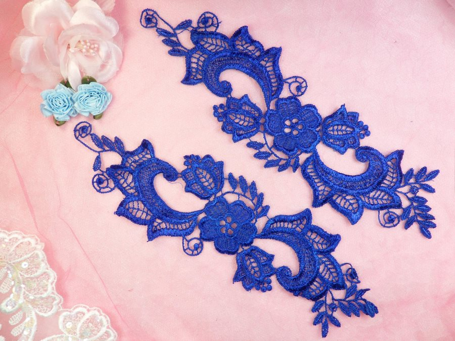 Embroidered Lace Appliques Blue Floral Venice Lace Mirror Pair 10.5 (DH90X)