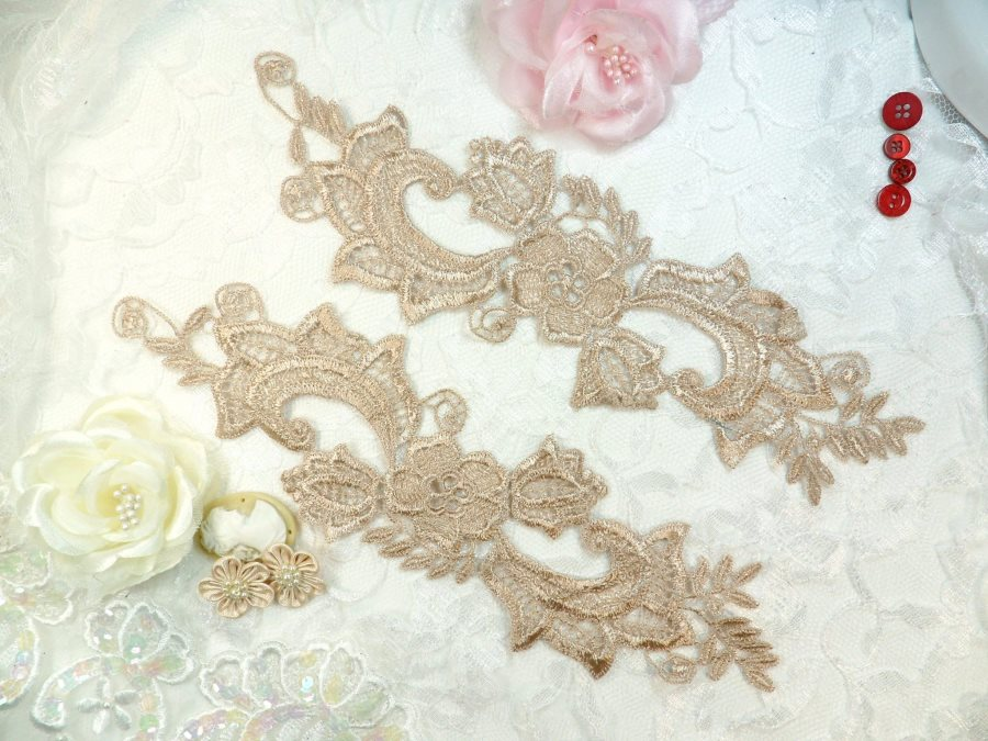 Embroidered Lace Appliques Champagne Floral Venice Lace Mirror Pair 10.5 (DH90X)