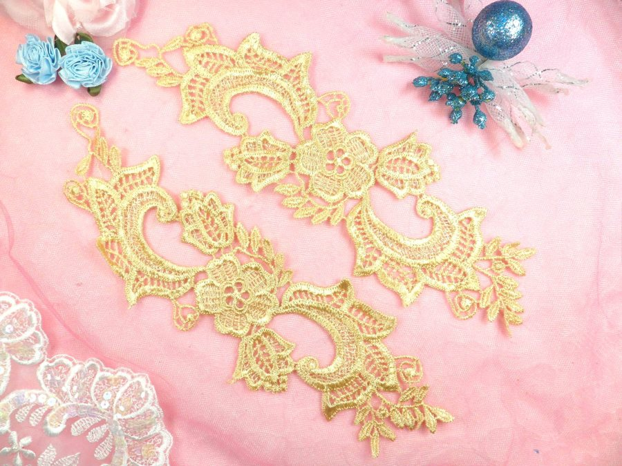 Embroidered Lace Appliques Gold Floral Venice Lace Mirror Pair 10.5 (DH90X)