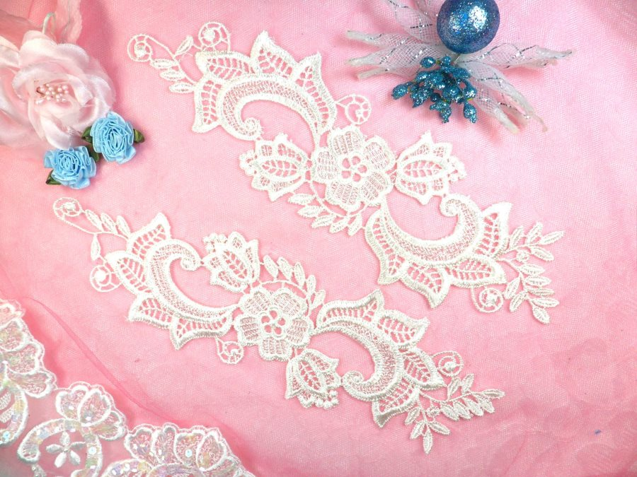 Embroidered Lace Appliques Ivory Floral Venice Lace Mirror Pair 10.5 (DH90X)