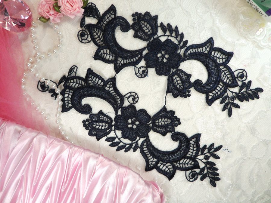 Embroidered Lace Appliques Navy Blue Floral Venice Lace Mirror Pair 10.5 (DH90X)