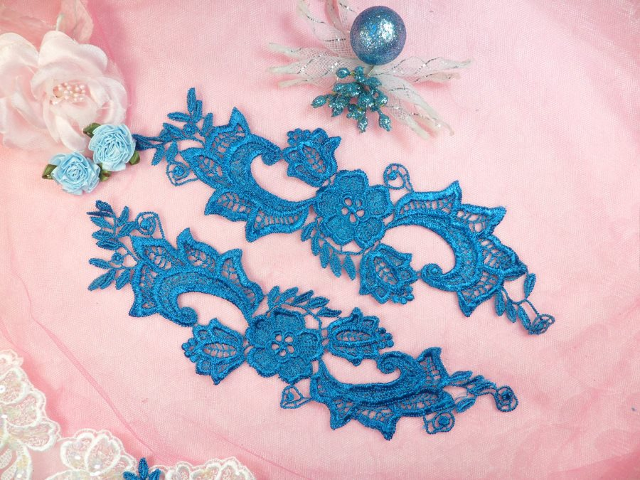 Embroidered Lace Appliques Turquoise Floral Venice Lace Mirror Pair 10.5 (DH90X)