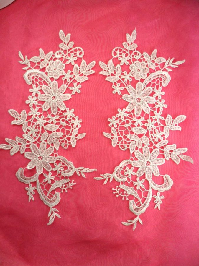 Embroidered Lace Appliques White Floral Venice Lace Mirror Pair 12.5 (DH79X)