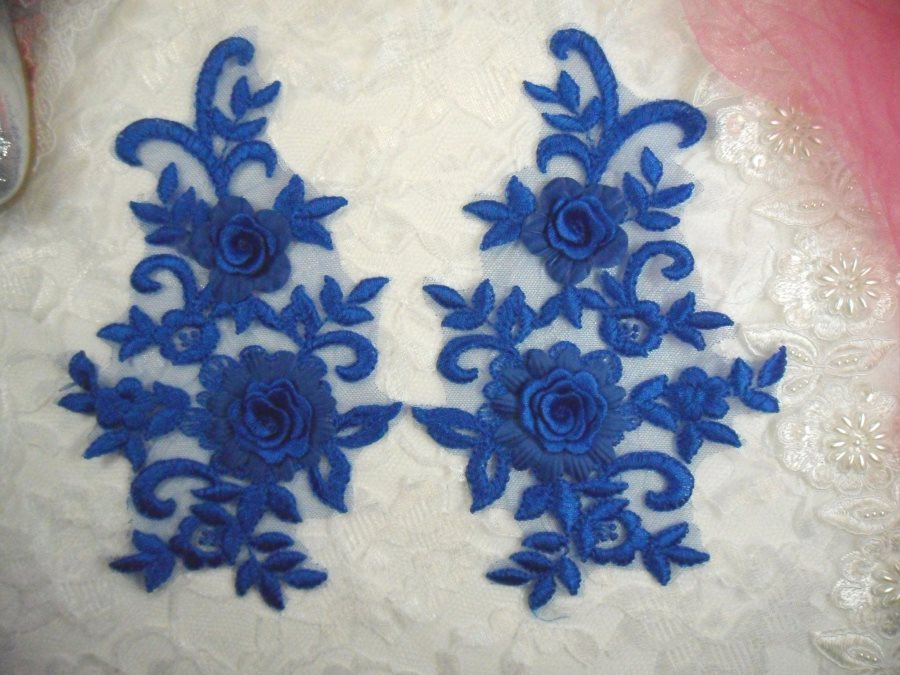 3D Lace Appliques Blue Floral Embroidered Mirror Pair 8 (DH91X)