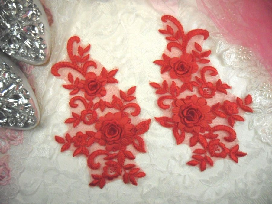 3D Lace Appliques Red Floral Embroidered Mirror Pair 8 (DH91X)