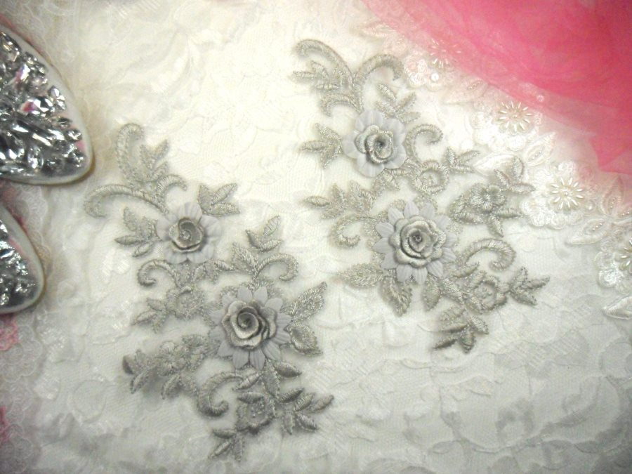 3D Lace Appliques Silver Floral Embroidered Mirror Pair 8 (DH91X)