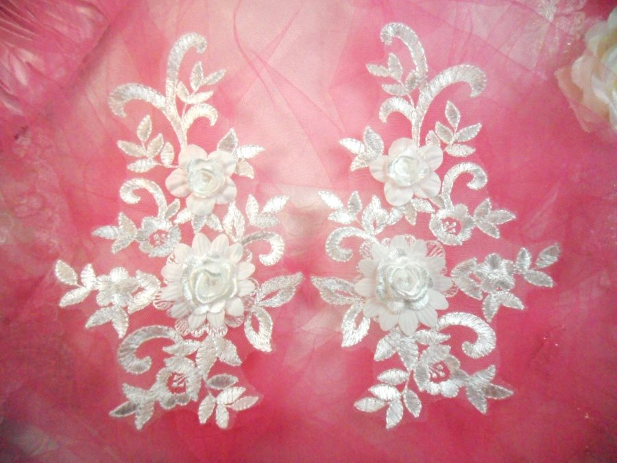 3d lace appliques white floral embroidered mirror pair flower