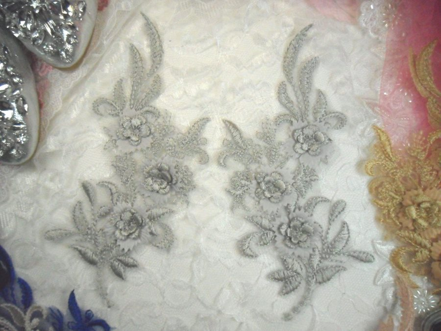 3D Lace Appliques Silver Floral Embroidered Mirror Pair 8 (DH92X)